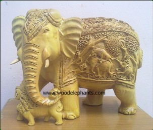 carved shikar elephant